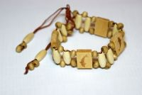 White & Olive Dolphin Adjustable Wooden Bracelet