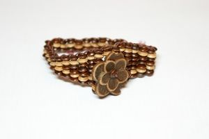 Brown Flower Elasticated Wooden Bracelet